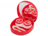 Contact Lens Case with Mirror - Lens Case with mirror Smile - red