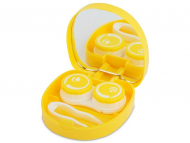 Contact Lens Case with Mirror - Lens Case with mirror Smile - yellow