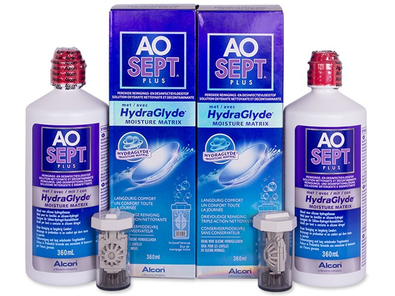 AO SEPT PLUS HydraGlyde Solution 2 x 360 ml  - Economy duo pack - solution