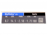 Biofinity Toric (3 lenses) - Attributes preview